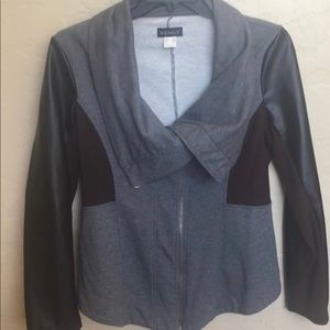 Venus gray jacket with brown pleather sleeves